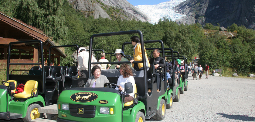 Troll cars at Briksdal Glacier.jpg
